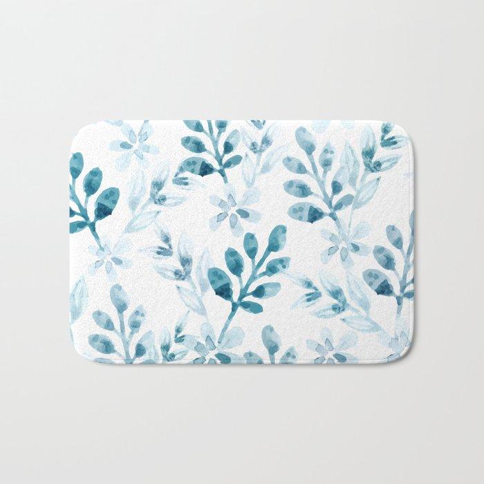 Watercolor Floral Pattern (Winter Version) Bath Mat