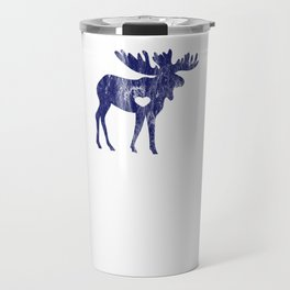 Moose Make Me Happy Cute I Love Alaska Moose Blue Distressed Travel Mug