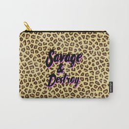 Trendy brown cheetah animal print black pink typography Carry-All Pouch