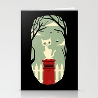 yetiland Stationery Cards featuring Let's meet at the red post box by Yetiland