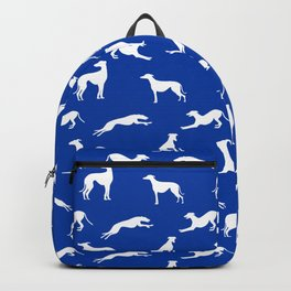 Greyhound Silhouettes White on Blue Backpack