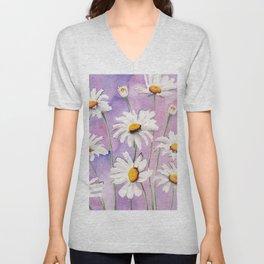 White Daisies Bloom Unisex V-Neck