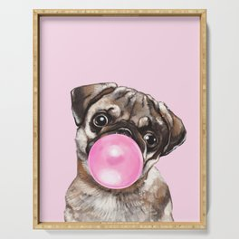 Pug with Pink Bubble Gum Serving Tray