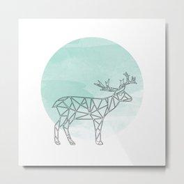 Geometric Deer In Thin Stipes On Circle Background Metal Print