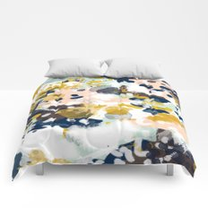 Sloane - Abstract painting in modern fresh colors navy, mint, blush, cream, white, and gold Comforters