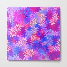 Pink Purple and Blue Marble Waves Metal Print