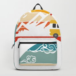 """Retro Vintage Camping Tee For Campers """"Van"""" T-shirt Design Mountain Trees Chair Bonfire Mountains Backpack"""