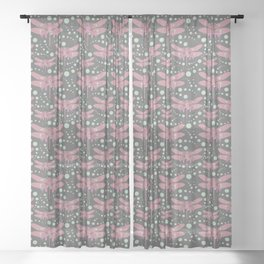 dragonflies with grey pattern 3 Sheer Curtain