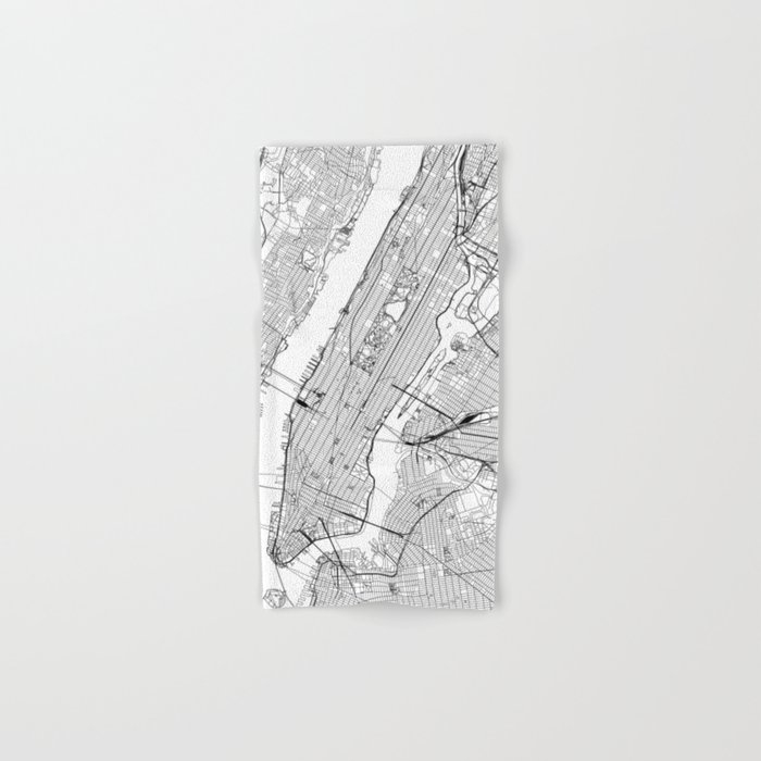 New York City White Map Hand & Bath Towel