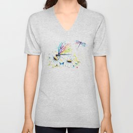 Dragonflies in a Garden - Watercolor Painting Unisex V-Neck