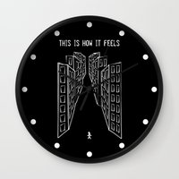 depression Wall Clocks featuring Depression by mailboxdisco