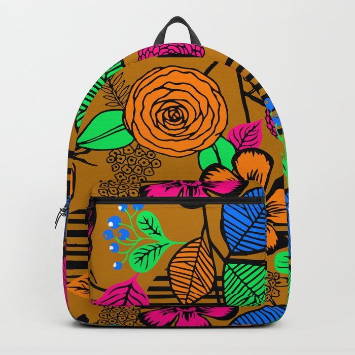 New Fashion Vector Flowers Pattern Backpack