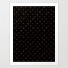 Chocolate Brown on Black Snowflakes Art Print