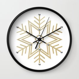 Silver and Gold 3-D look Snowflake Wall Clock