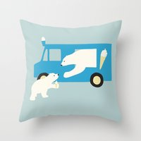 icecream Throw Pillows featuring ICECREAM by Coco and the tigers