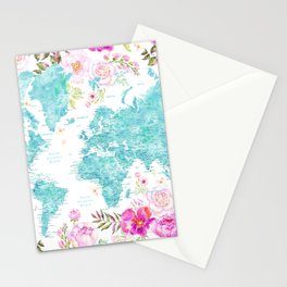 Aquamarine and hot purple watercolor world map with cities Stationery Cards