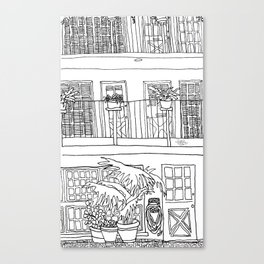 California Line Drawing / Malaga Cove, PVE Canvas Print