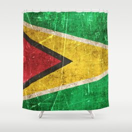Vintage Aged and Scratched Guyanese Flag Shower Curtain