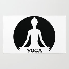 Yoga silhouette illustration Rug