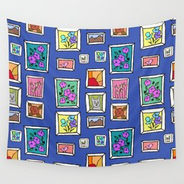 Art Wall - Blue, Frames Illustration  Wall Tapestry