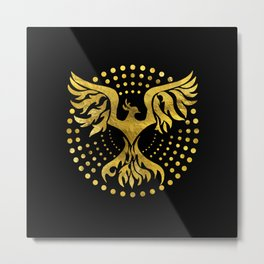 Gold Decorated Phoenix bird symbol Metal Print