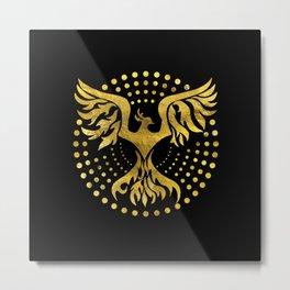 Gold Decorated Phoenix bird symbol Metal Print