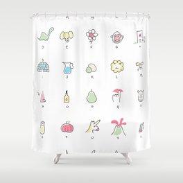 Abecedário Inglês / Português Shower Curtain