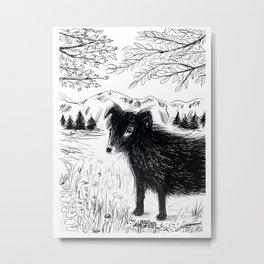 Black Dog in the Woods Metal Print
