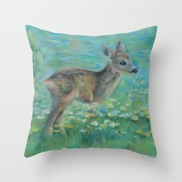 Little Roe on the spring meadow Wildlife Deer Pastel drawing Fawn Throw Pillow