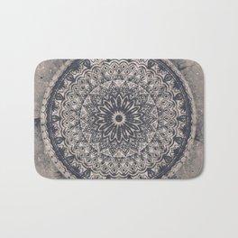 Mandala Geometric Grey and Navy Blue Bath Mat