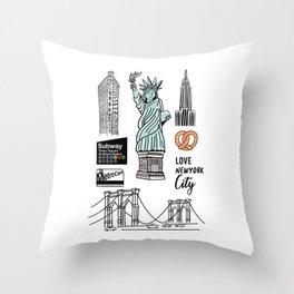 New York City Doodle Throw Pillow