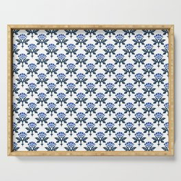 Ajrak Woodblock Floral Print in Blue Serving Tray
