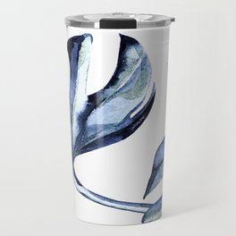Blue Palm Leaves Travel Mug