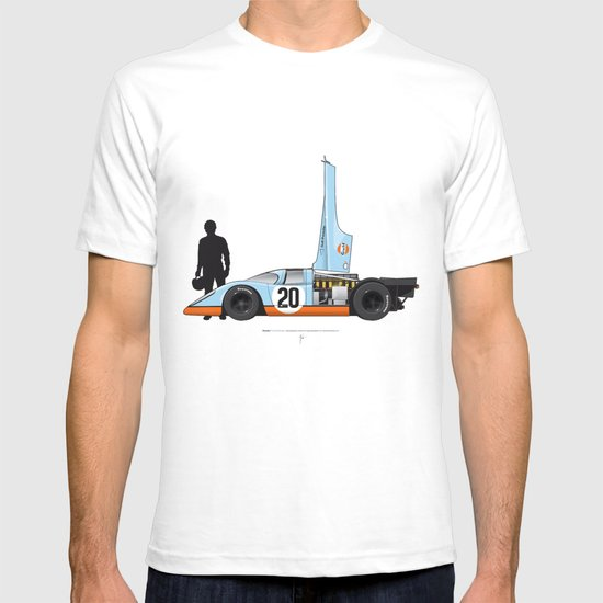 Outline Series N.º4, Steve McQueen, Porsche 917, Le Mans movie 1971 T-shirt
