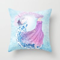 the last unicorn Throw Pillows featuring Last Unicorn by Roots-Love