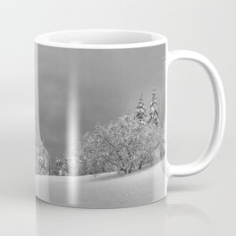 Solitary Snowy Tree in Black and White - Landscape Photography Coffee Mug
