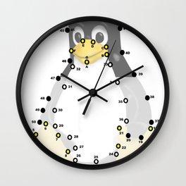 Linux Tux penguin dots  Wall Clock
