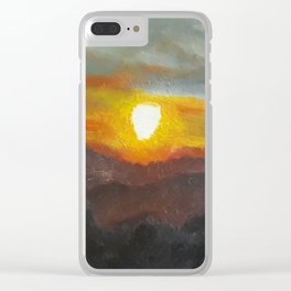 Eye of Portugal, Contemporary Oil Painting of sunset, COLORFUL Original Modern Art, Fine Art by Lu Clear iPhone Case
