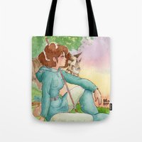 nausicaa Tote Bags featuring Nausicaa of the Valley of the wind by Adriana Rodriguez Art