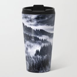Misty Forest Mountains Metal Travel Mug