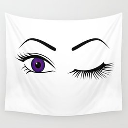 Violet Wink (Right Eye Open) Wall Tapestry