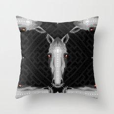 Horse Pattern - Black version Throw Pillow
