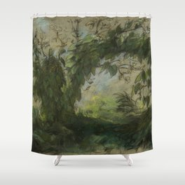 """Eugène Delacroix """"Arch of Morning Glories, study for A Basket of Flowers"""" Shower Curtain"""