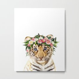 Baby Tiger With Flower Crown, Baby Animals Art Print By Synplus Metal Print