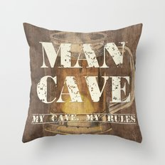 Man Cave My Rules Throw Pillow