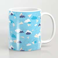airplanes Mugs featuring Paper Airplanes by Polita