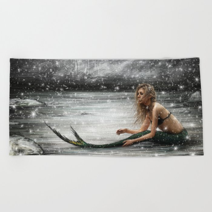 Winter Mermaid Beach Towel