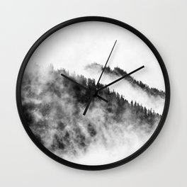 Minimalist Foggy Black And White Forest Mountain Ominous Minimalist Photo Wall Clock