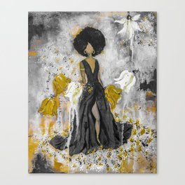 Dear Queen Black and Gold Canvas Print