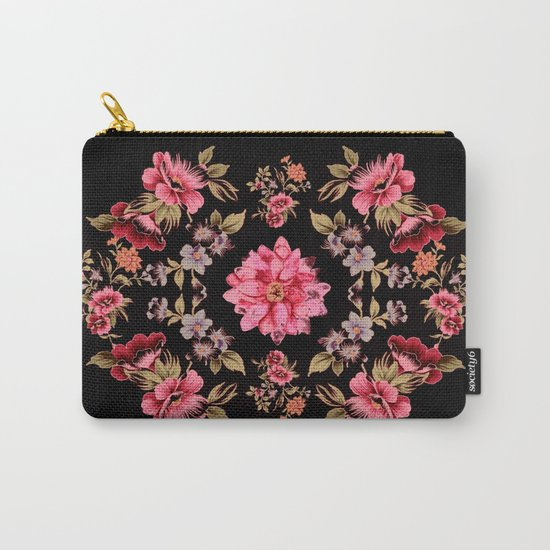 pink folk floral on black background Carry-All Pouch
